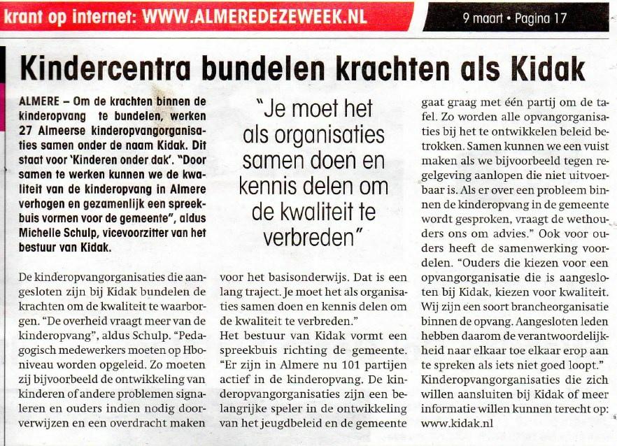 09-03-2016 Kindercentra bundelen krachten als Kidak-krantenknipsel-1